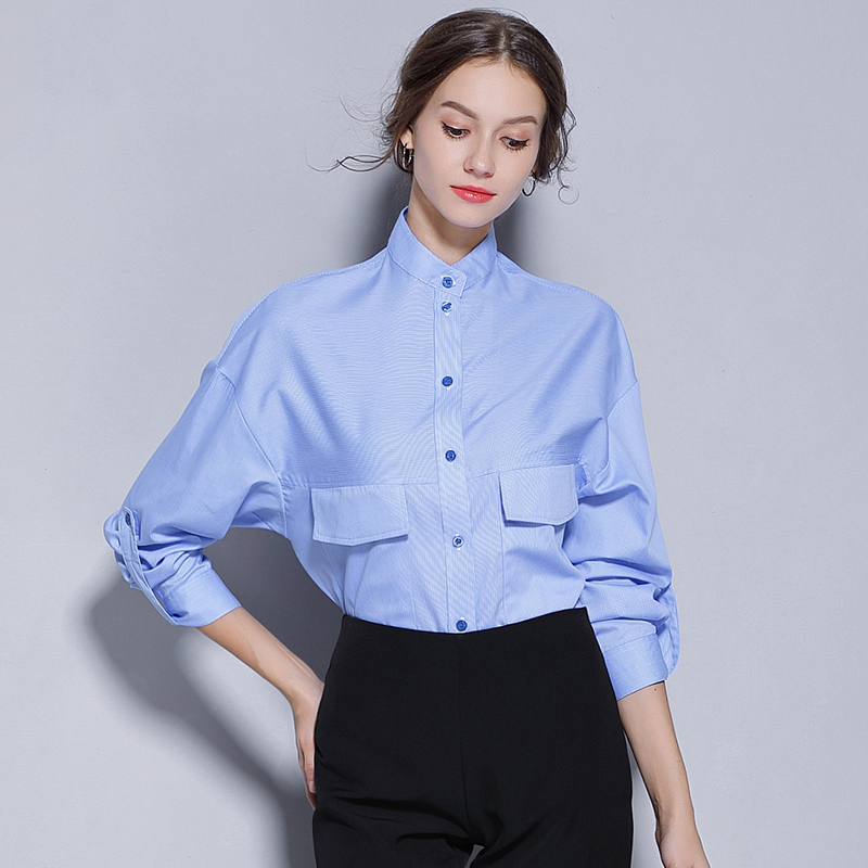 Radient 2018 New Hot Women V-neck Solid Full Casual Shirt To Have Both The Quality Of Tenacity And Hardness Women's Clothing