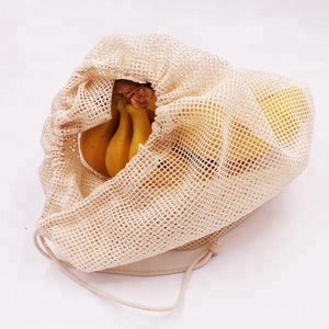 BOSI Wholesale eco-friendly reusable shopping grocery cotton mesh produce net bag