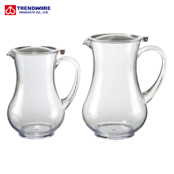 Restaurant San Plastic Water Pitcher With Stainless Steel Lid View
