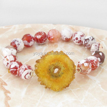 Brh1460 2017 Spring Unique Style Faceted Fire Agate Beaded Geode Druzy Bracelet