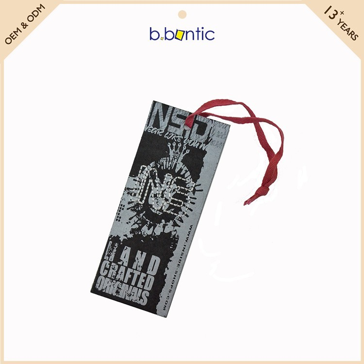 Promotional Gloss Clothing Hang Tag With Sting