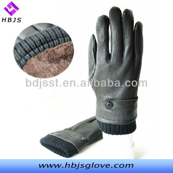 The winter to keep warm the new men's joker belt button design leather gloves