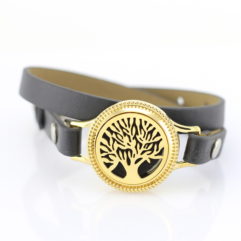 30mm Aromatherapy Essential Oil Diffuser Leather Band Locket Bracelet
