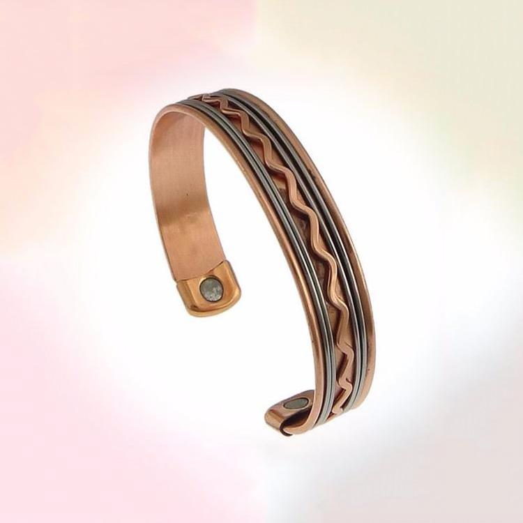 Wenfanqi Wholesale Bangles More Natural Healing Solid Copper and Magnet Flexible Bracelet bangle
