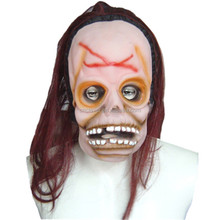 Custom design halloween terrorist face masks with long wine red hair