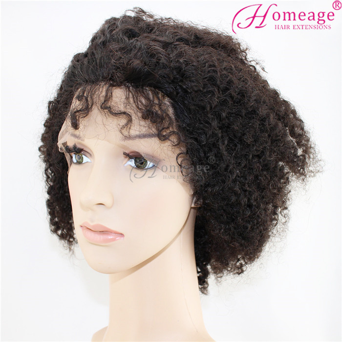 "Homeage 2015 New Arrival Unprocessed Virgin 12""-32"" afro kinky brazilian human hair lace front wig"