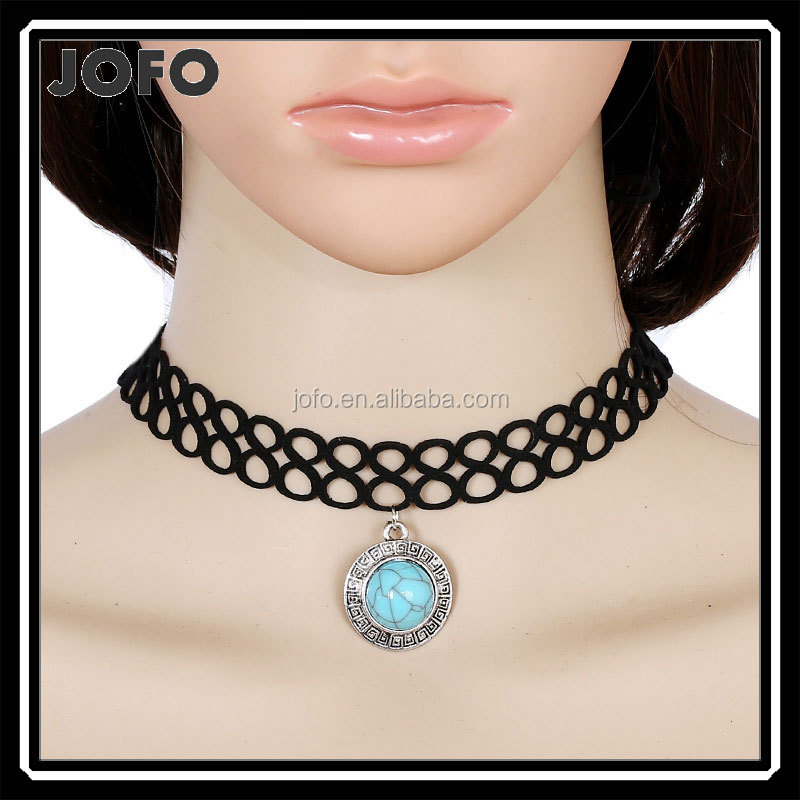 New Vintage turquoise Pendant Black Velvet Ribbon Choker Necklace For Women Accessories Gothic Punk Collar Maxi Jewelry