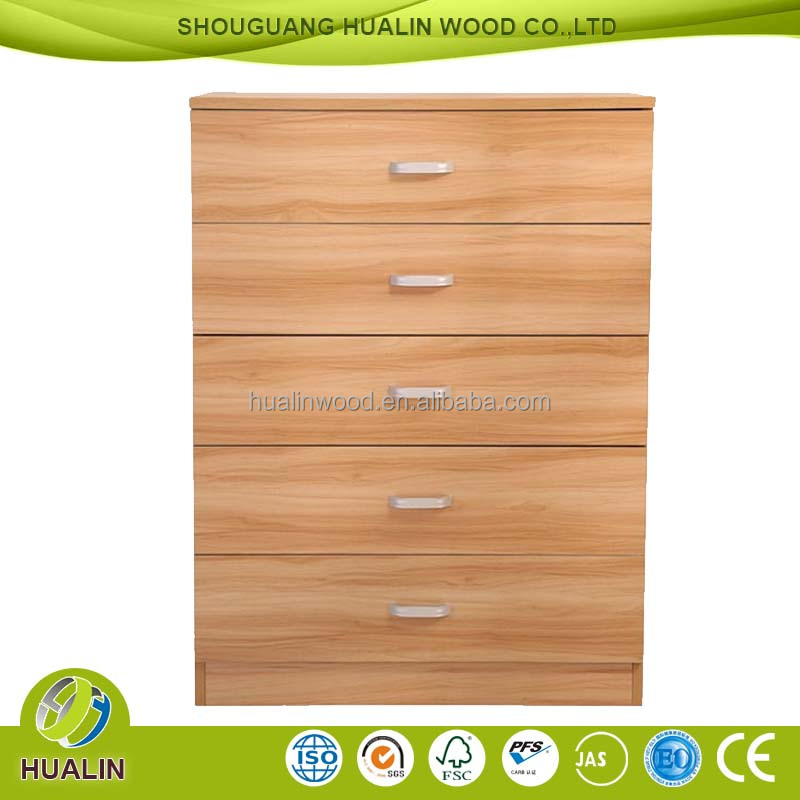 modern FSC wooden Small 5 drawer chest of drawers/bedside cabinet design