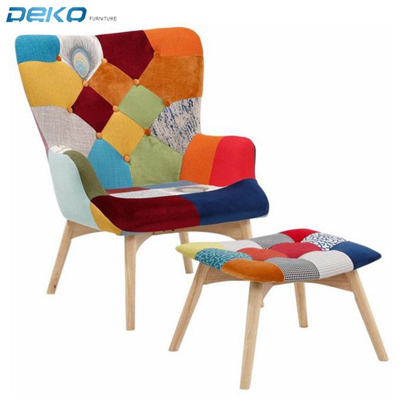 Tela de Patchwork alfombras sillón con reposapies otomano sillón estilo escandinavo de madera Silla de acento con otomana