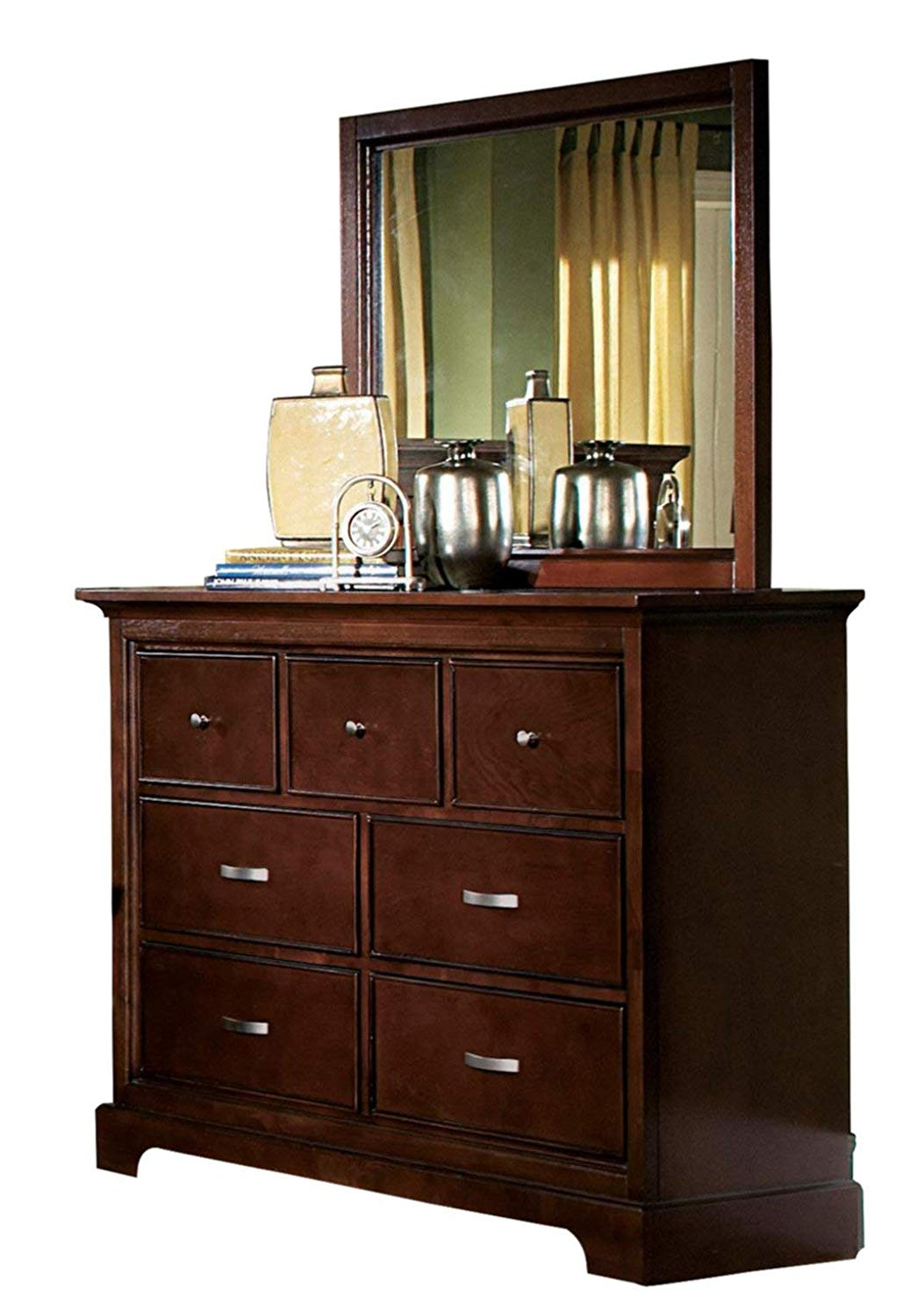 Get Quotations Gaston Wood Dresser Mirror In Brown Cherry