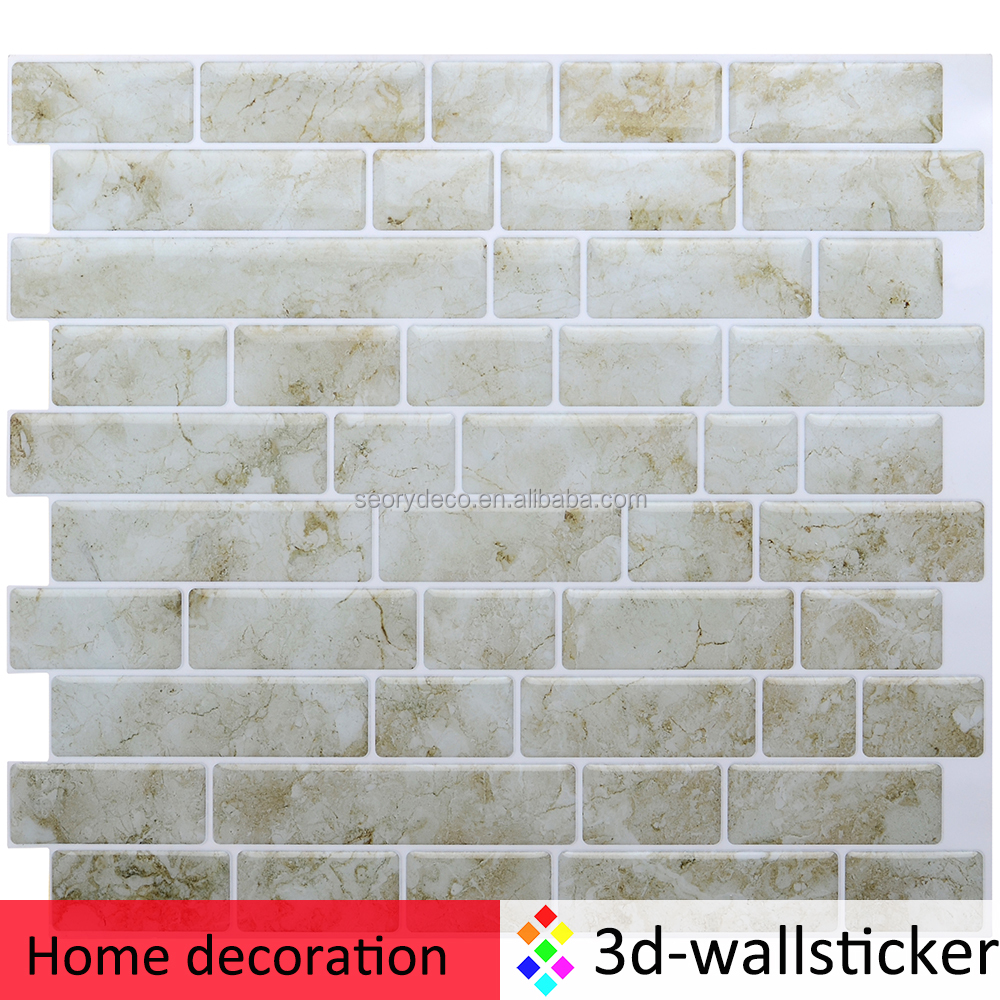 Modern easy stick and go backsplash marble wall tile for Kitchen bathroom decor