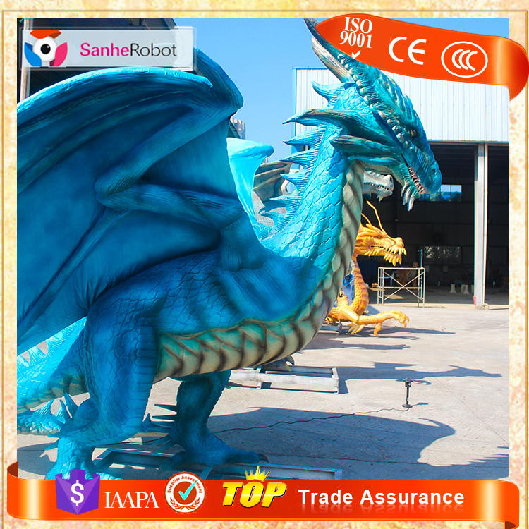 Shopping Mall Animated Artificial life size animatronic dragon statues for sale