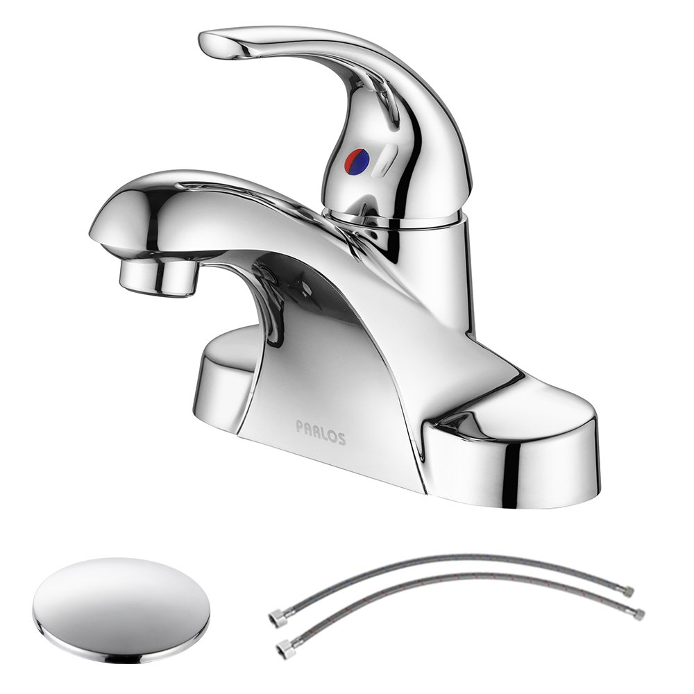 Get Quotations · PARLOS Single Handle Centerset Bathroom Sink Faucet With  Drain Assembly And CUPC Faucet Supply Lines,