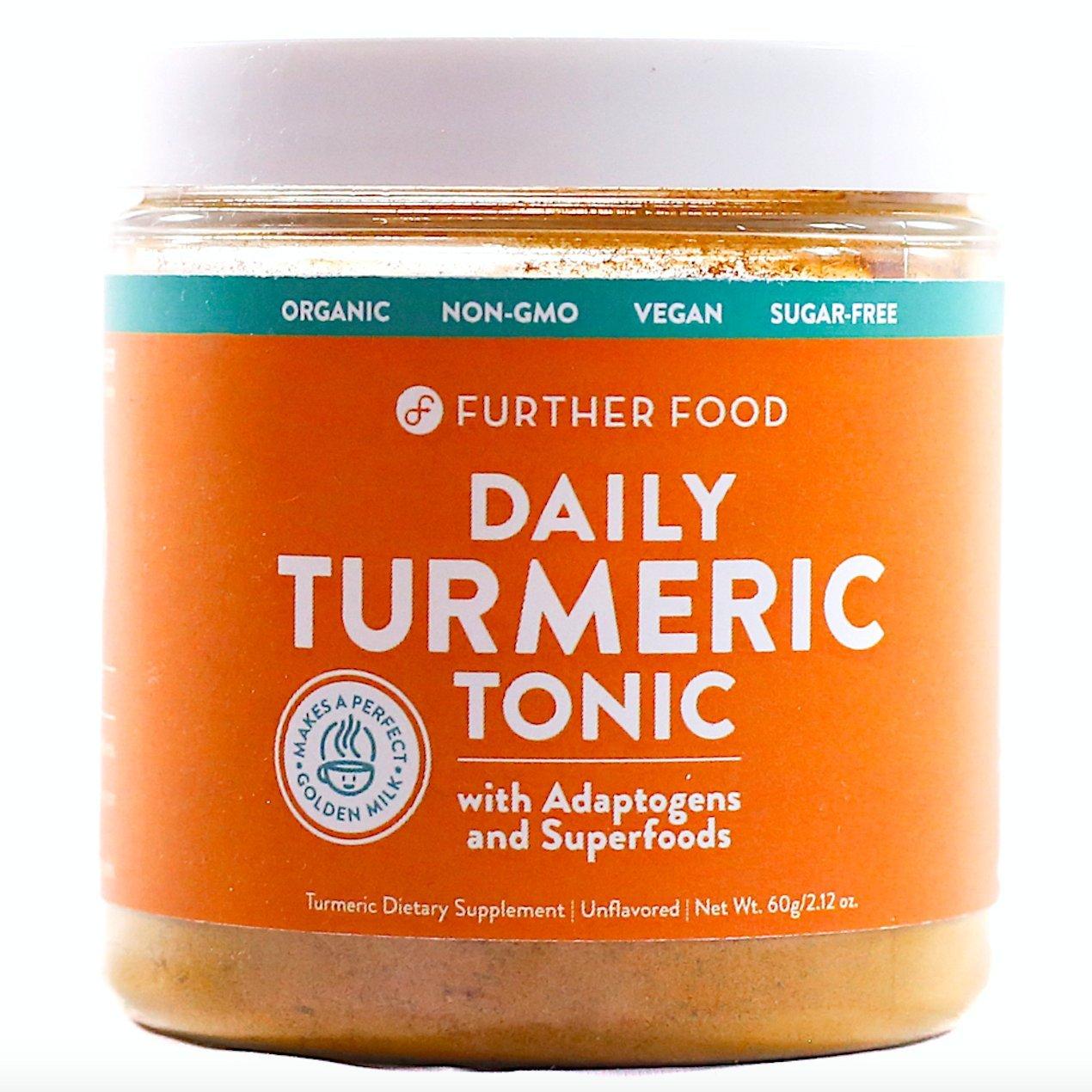 Daily Turmeric Tonic: ORGANIC Turmeric + 7 Superfood & Adaptogen Antioxidant Golden Milk Blend; Makes a Perfect Turmeric Tea & Latte, Sugar-Free, non-GMO, Vegan (2.12 oz.)