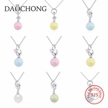 925 Sterling Silver With Single Pearl Pendant Necklace For Gift