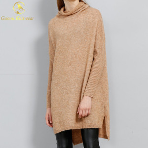 Women High Neck Winter Mohair Sweaters Long Knitted Pullover Dress