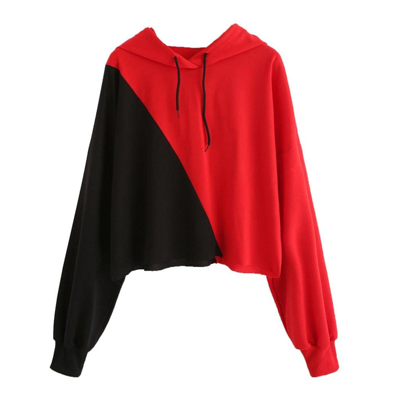 Junshion Womens Patchwork Long Sleeve Hoodie Sweatshirt Hooded Pullover Splice Tops Blouse