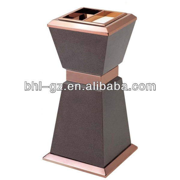 Luxury Meta Decorative Ground Ash Bin with ashtray top for sale,GPX-323A