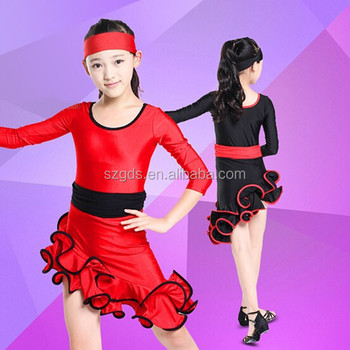 Wholesale NEW 2015 Children Latin dance costume performance costume long  sleeve Black Red latin and ballroom b18e73b732c3