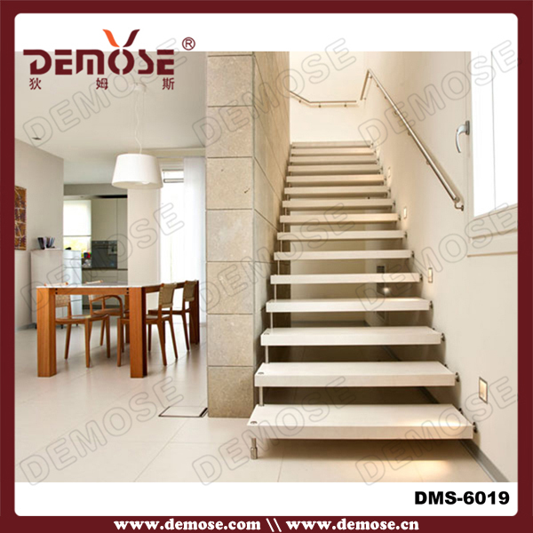 Prefabricated Curved Floating Wooden Stair Attic Used