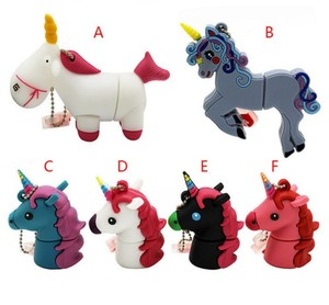 cute Cartoon animal Unicorn 6 style pendrive 4GB 8GB 16GB 32GB Stick USB Flash Drive