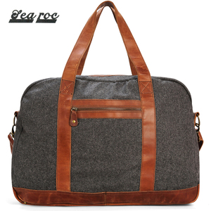 Dark Grey Folding Soft Canvas Leather Weekend Travel Bag Unisex Lightweight Overnight Duffle Bags
