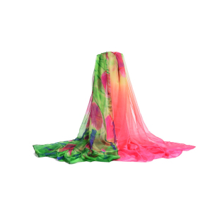 China Made Exquisite Print Chiffon Silk Dhaka Shawl For Women