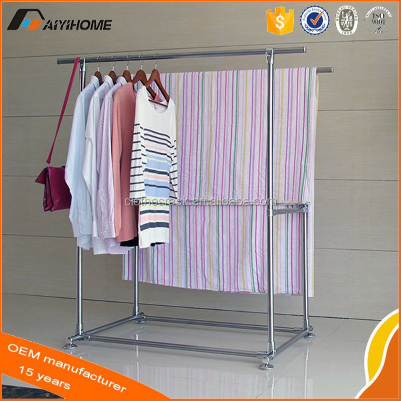 Double Pole Display Rack Movable Stainless Steel Clothes Drying Malaysia