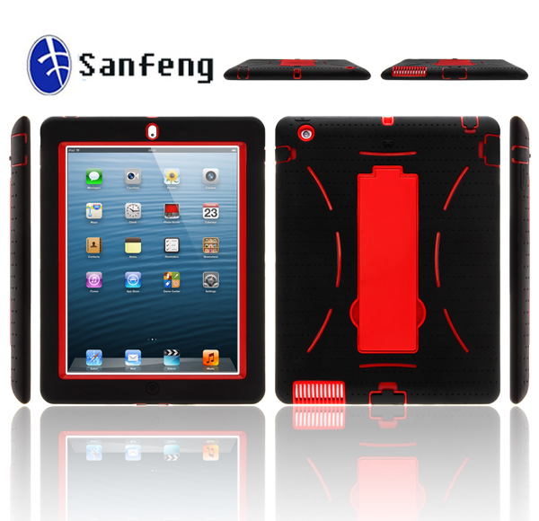 Newest In 2014!!! Top quality shockproof case for ipad 2/3/4, heavy duty Kickstand case for ipad 2/3/4 rubber case