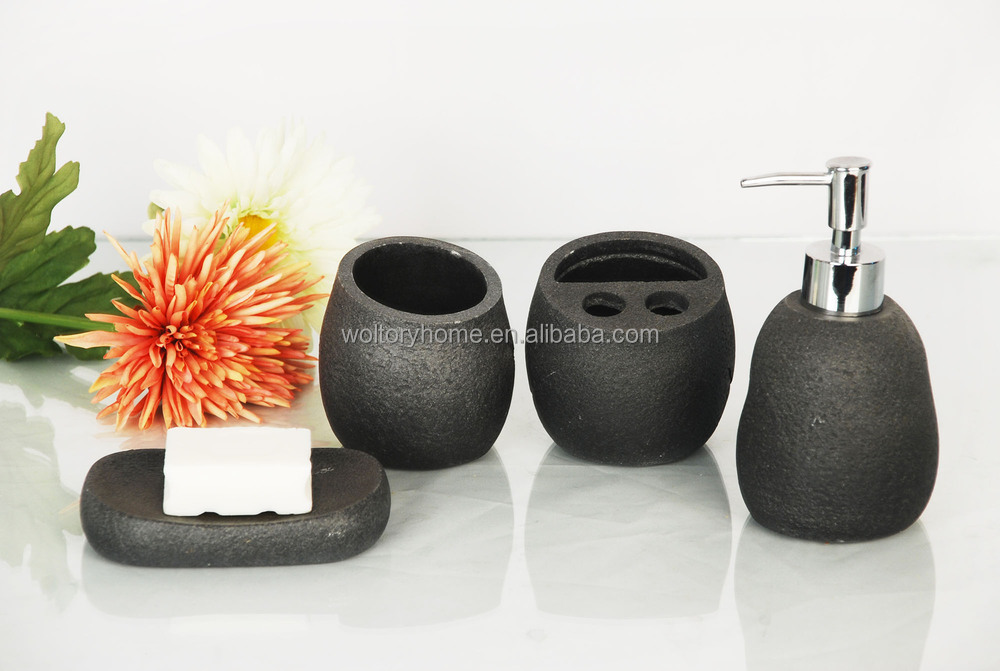 Black Artificial Stone Bathroom Bath Accessories Set/natural Stone Bathroom  Accessories/bath Set