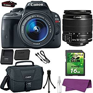 Canon EOS Rebel SL1 DSLR Camera with Canon EF-S 18-55mm IS STM Lens + 16GB SD Memory Card + Canon Bag + Cleaning Kit