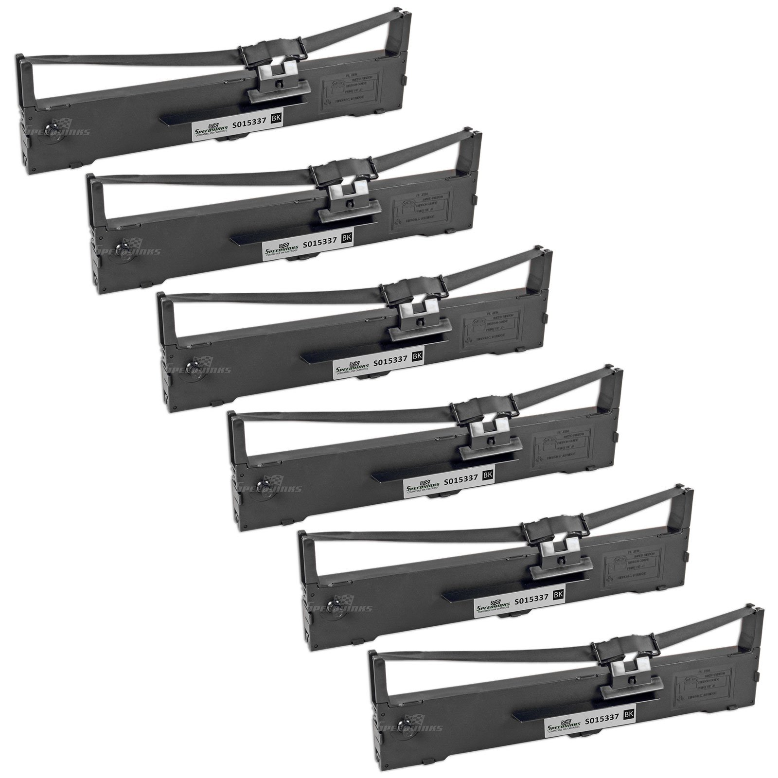 Speedy Inks - Compatible 6 Pack Black Ribbon Cartridges for Epson S015337 for use in Epson LQ-590 Impact Printer
