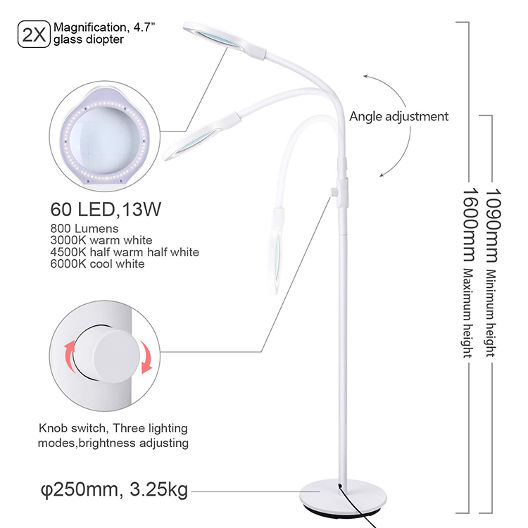DH-88010 Modern Large Color Temperature Adjustable Standing Magnifying Floor Lamp with 60 LED Lights