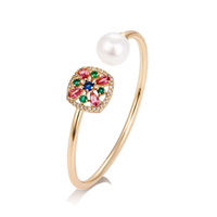 51748 xuping jewelry good quality women jewelry, pearl bangle with triple stone