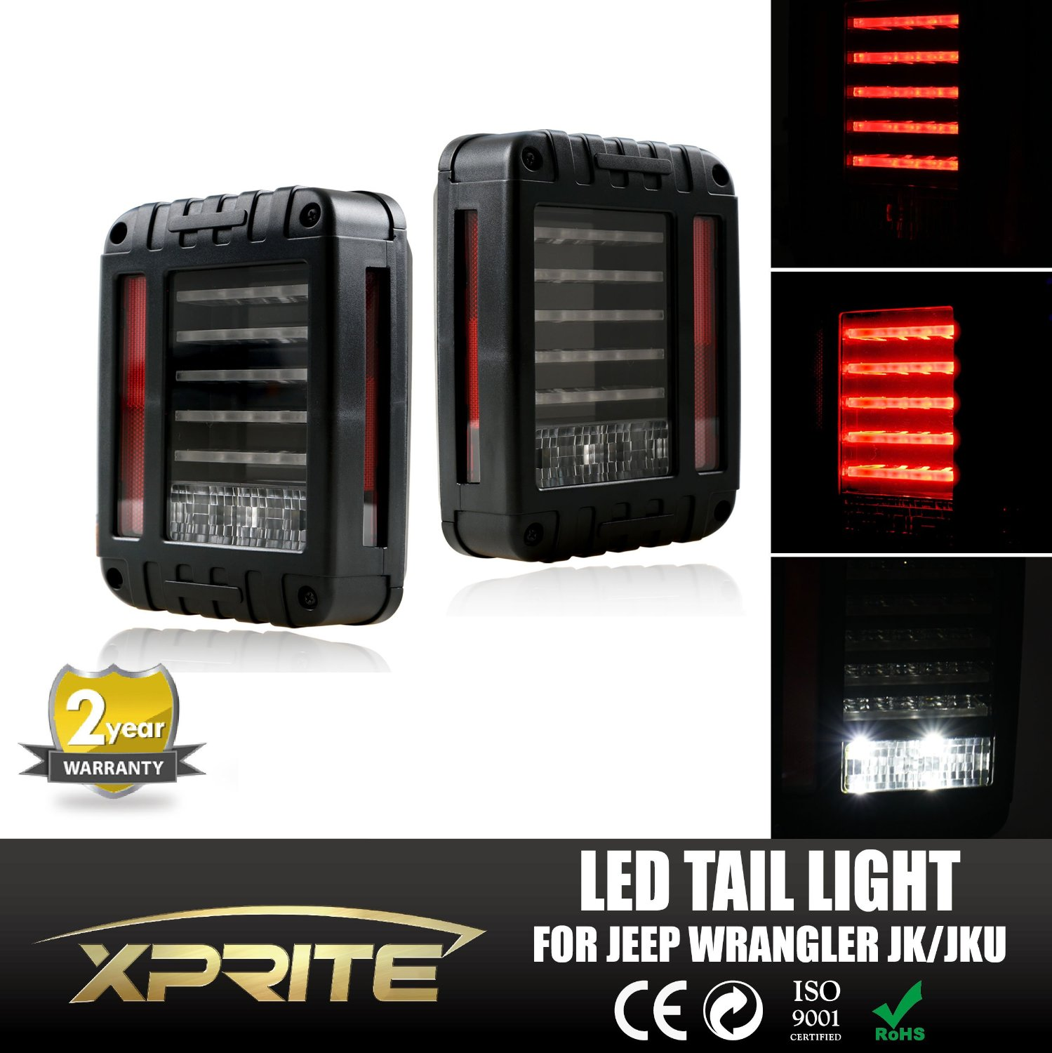Xprite G2 Series Clear Lens Red LED Tail Light Assembly w/ Turn Signal & Back Up For Jeep Wrangler JK JKU 2007 - 2017