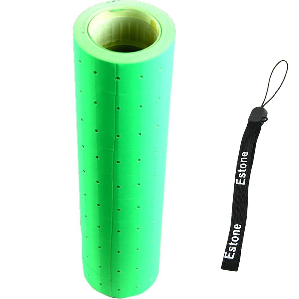 Estone 10 Rolls Fluorescent Color 5000 Price Labels Paper Fr MX-5500 Price Gun Labeller (Green)