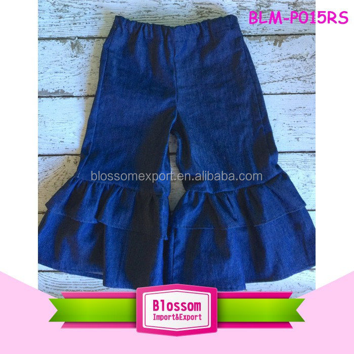 Wholesale Children's Boutique Clothing Kids Blue Denim Jeans Double Ruffle Pants Capris Baby Girls Denim Ruffle Pants