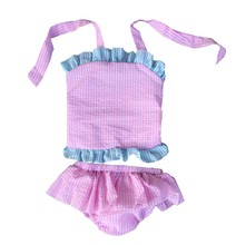 2017 Hot Sale 6m-7y Two-piece Girl 5t-6t 6t-7t New Arrival Bikini Style And Infants & Toddlers Seersucker Swimsuit for baay girl