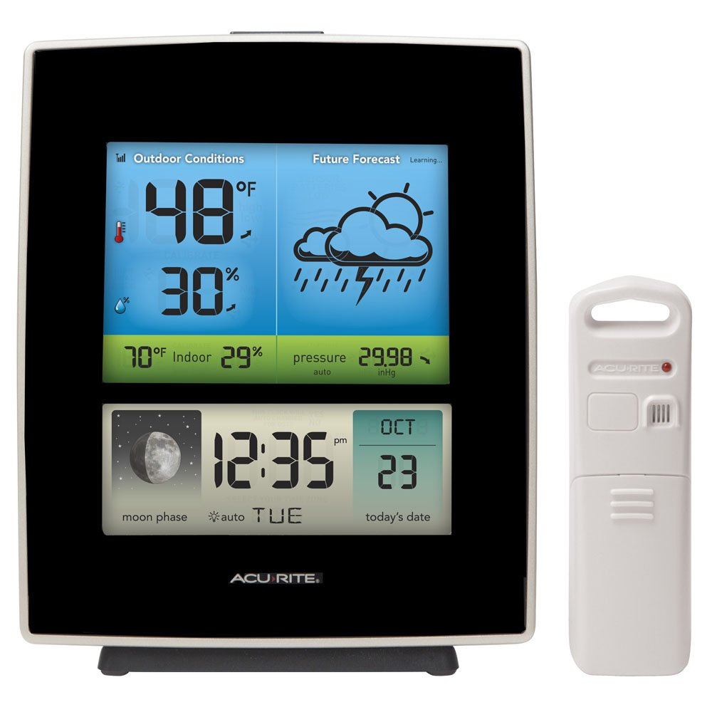 AcuRite 02030RM Weather Station with Forecast/Temperature/Humidity/Moon Phase, Black