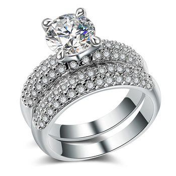 Luxury 925 Silver Plated Brass High Quality Women Men Wedding Engagement Jewelry Ring Sets