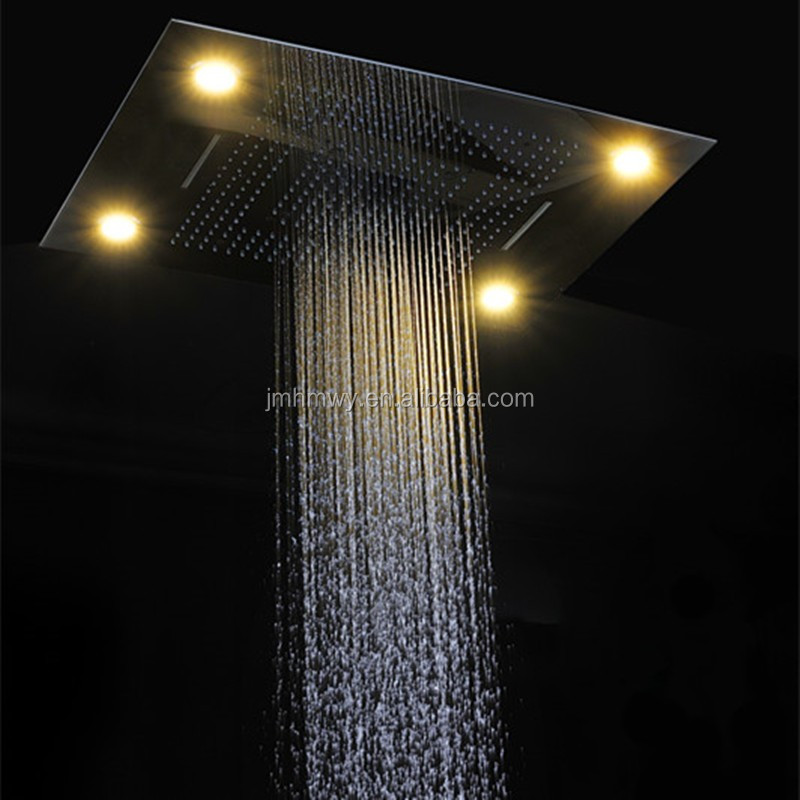 Rectangular embed 304 ss shower faucet mixer set rainfall waterfall luxury bathroom accessory set
