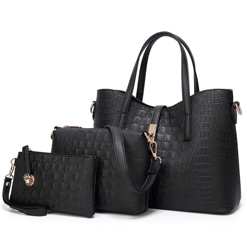 Модные женские сумки, набор из 3 сумок из крокодиловой кожи, сумка-тоут через плечо, кошелек из полиуретана