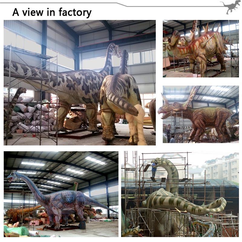 Life Size Cartoon Fiberglass Dinosaur Statue For Garden Decoration