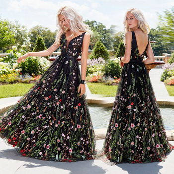 Fancy Black High Quality Women Floral Printed Dress Hot Night Evening Party Wear Hot Sale Ladies Gowns Dress Frocks for Women