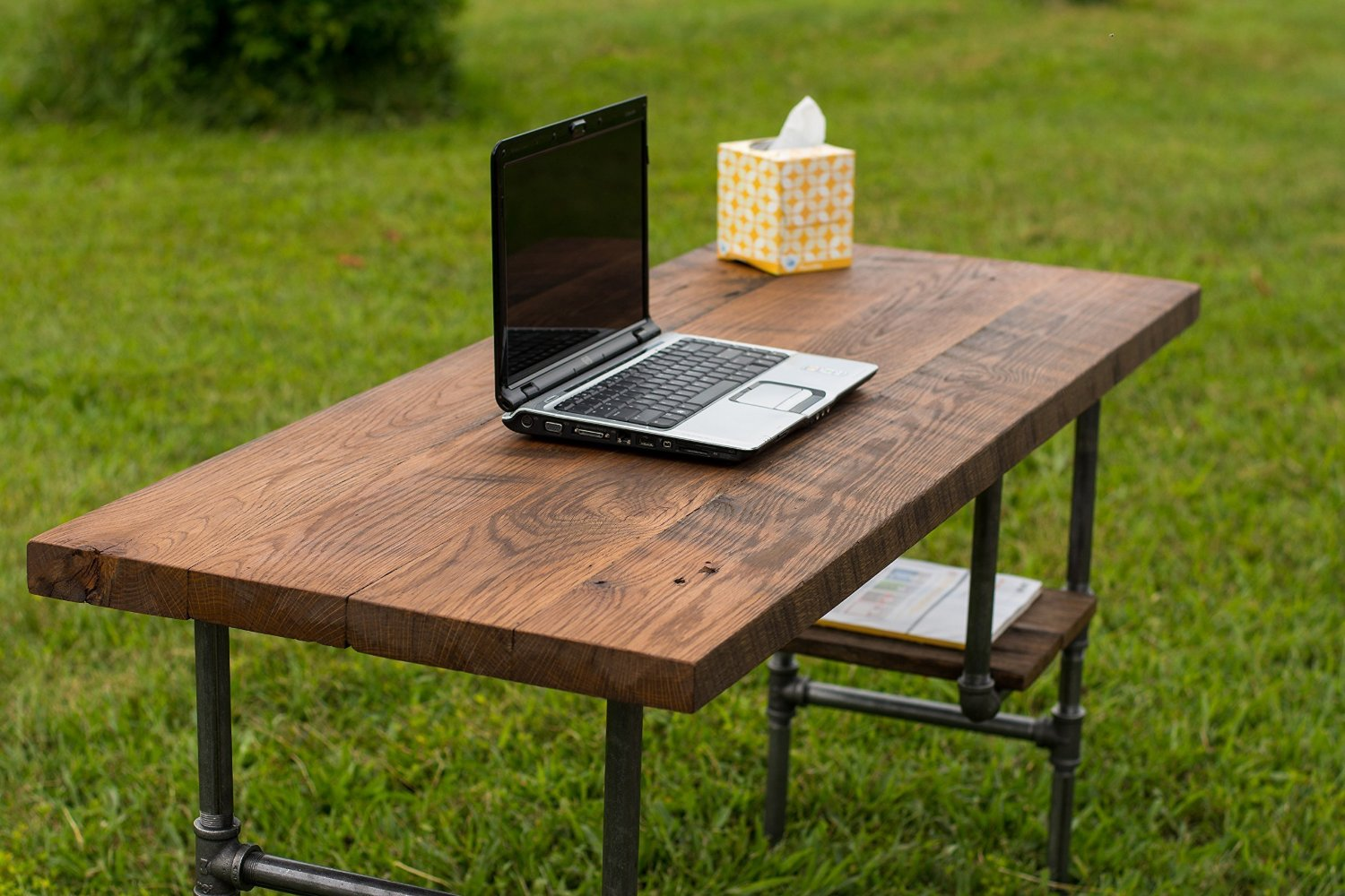 "Reclaimed Wood Desk Table - Rustic Solid Oak W/28"" Black Iron Pipe legs."