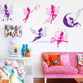 removable flower fairy wall stickers moon star and butterfly home