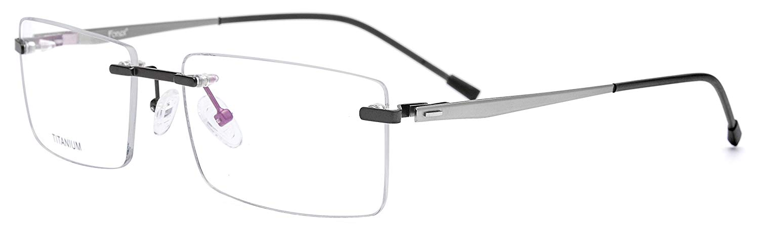 4c27326b66f4 Get Quotations · FONEX Titanium Alloy Rimless Square Glasses Frame  Prescription Eyeglasses 8828