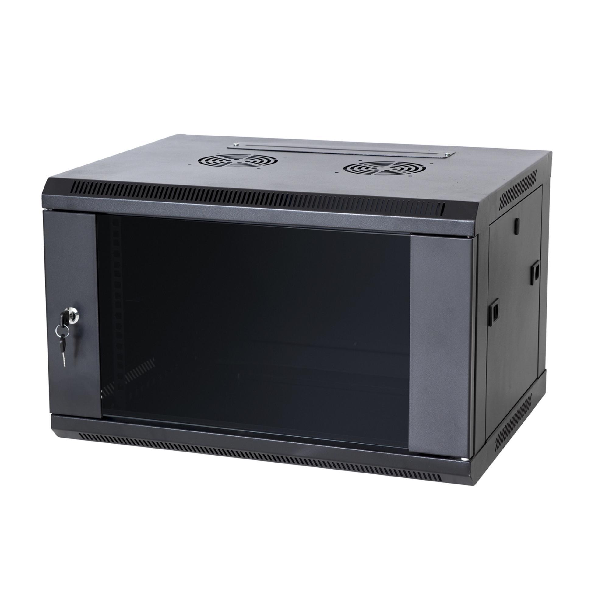 cabinet w fan mount network wall glass door itm lock data rack server enclosure