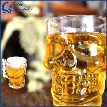 3D Skull Shape Crystal Home Beer Wine Drinking Stein Glass Mug Handle Glassware