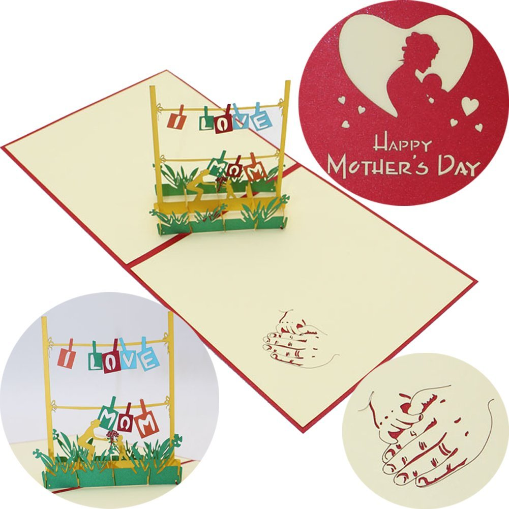 get quotations mothers day greeting card welegant happy mothers day i love mom 3d pop up greeting